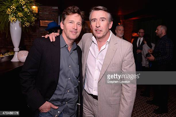 "Actors Andrew McCarthy and Steve Coogan attend the premiere of the SHOWTIME original comedy series ""HAPPYish"" on April 20 2015 in New York City..."