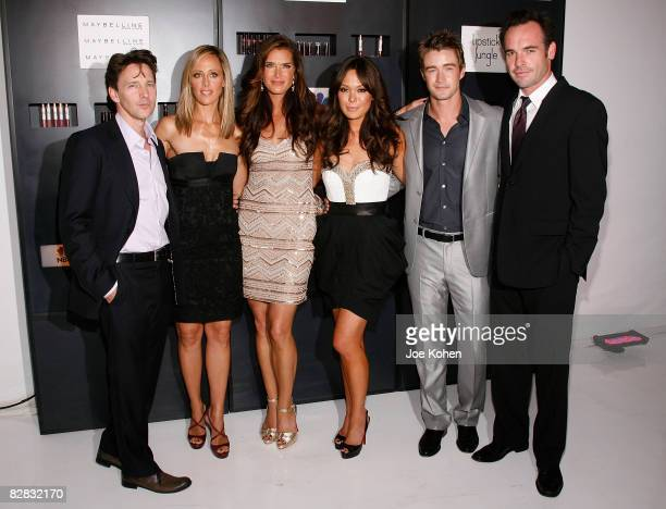 """Actors Andrew McCarthy, Kim Raver, Brooke Shields, Lindsay Price, Robert Buckley and Paul Blackthorne attend the """"Lipstick Jungle"""" premiere party at..."""