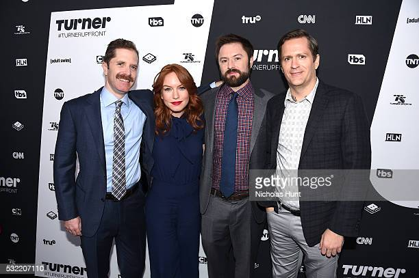 Actors Andrew Orvedahl Maria Thayer Adam CaytonHolland and Ben Roy attend Turner Upfront 2016 arrivals at The Theater at Madison Square Garden on May...