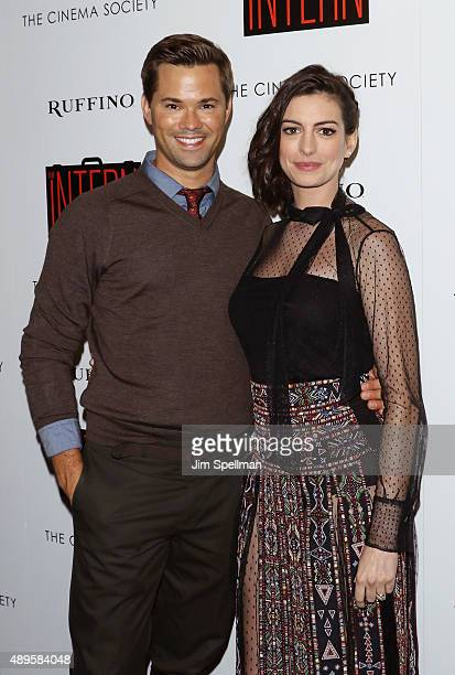 Actors Andrew Rannells and Anne Hathaway attend the The Cinema Society and Ruffino host a screening of Warner Bros Pictures' 'The Intern' at the...