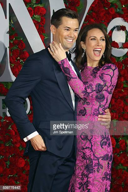 Actors Andrew Rannells and Laura Benanti attend the 70th Annual Tony Awards at Beacon Theatre on June 12 2016 in New York City