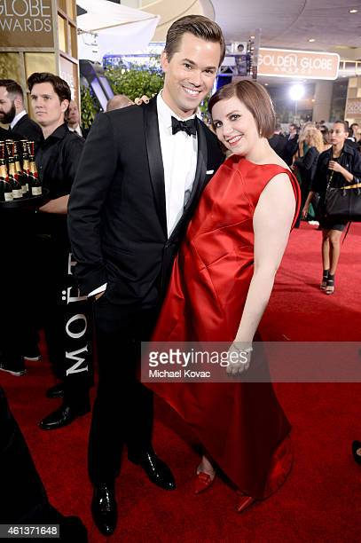 Actors Andrew Rannells and Lena Dunham attends the 72nd Annual Golden Globe Awards at The Beverly Hilton Hotel on January 11 2015 in Beverly Hills...