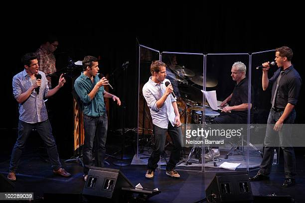 Actors Andrew Rannells Preston Sadleir Curtis Holbrook and Xavier Cano from the show Give It Up perform on stage at the 2010 New York Musical Theater...