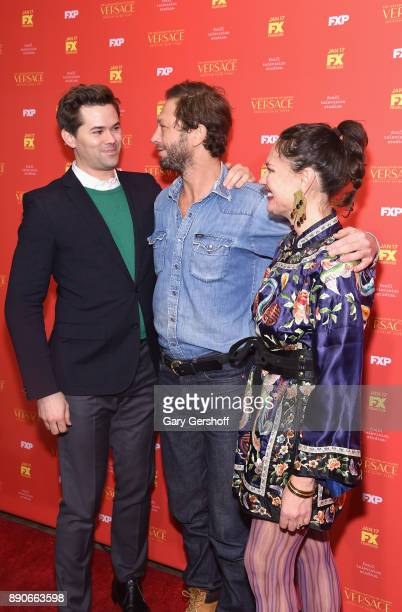 Actors Andrew Rennells Ebon MossBachrach and director Yelena Yemchuk attend 'The Assassination Of Gianni Versace American Crime Story' New York...