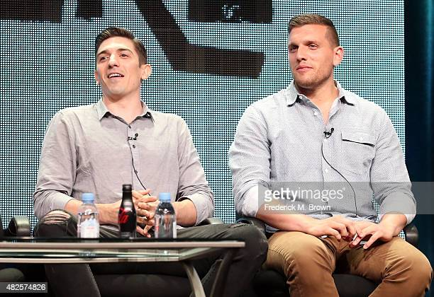 Actors Andrew Schulz and Chris Distefano speak onstage during the 'Benders' panel discussion at the AMC/IFC Networks portion of the 2015 Summer TCA...