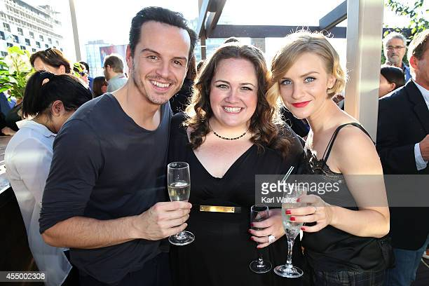 Actors Andrew Scott Jessica Gunning and Faye Marsay attend the British Film Commission We are UK Film Party during the 2014 Toronto International...
