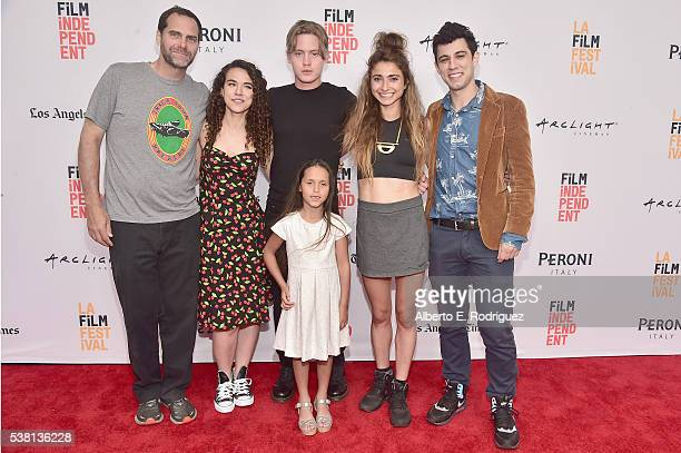 Actors Andy Buckley Remy Teicher Chase Offerle Cruz Donawa and codirectors Alexi Pappas and Jeremy Teicher attend the premiere of 'Tracktown' during...