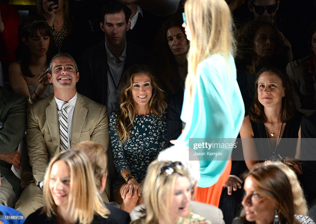 Actors Andy Cohen and Sarah Jessica Parker attend the Diane Von Furstenberg show during Spring 2013 Mercedes-Benz Fashion Week at The Theatre at Lincoln Center on September 9, 2012 in New York City.
