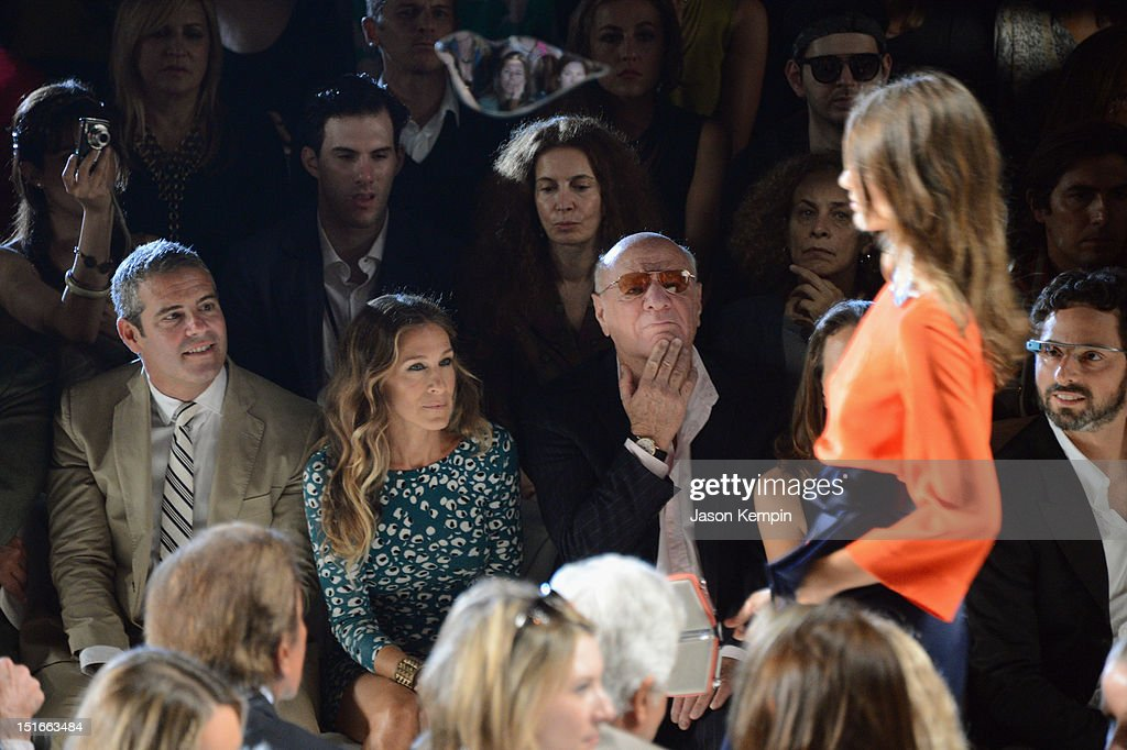 Actors Andy Cohen, Sarah Jessica Parker and Barry Diller, Chairman and Senior Executive of IAC/InterActiveCorp attend the Diane Von Furstenberg show during Spring 2013 Mercedes-Benz Fashion Week at The Theatre at Lincoln Center on September 9, 2012 in New York City.