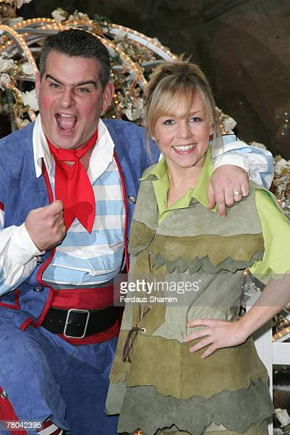 Actors Andy Colins and Claire Buckfield attend the First Family Entertainment Pantomine Season Launch at the O2 arena on November 21 2007 in London...