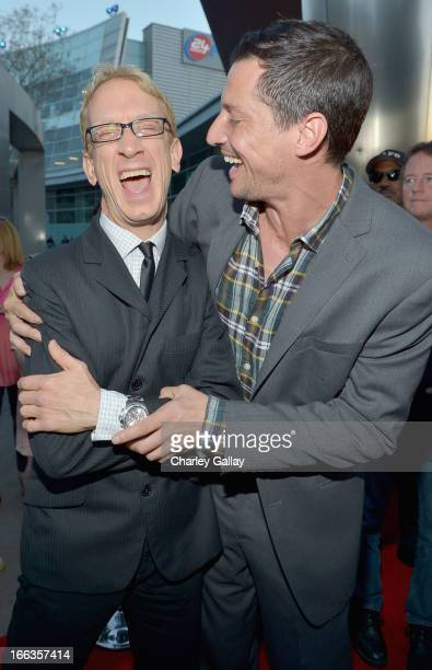 Actors Andy Dick and Simon Rex arrive at the premiere of 'Scary Movie V' presented by Dimension Films in partnership with Lexus and Chambord at the...
