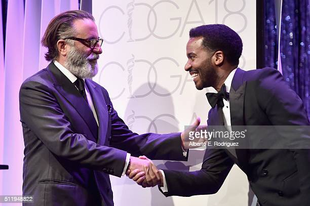 Actors Andy Garcia and Andre Holland speak onstage during the 18th Costume Designers Guild Awards with Presenting Sponsor LACOSTE at The Beverly...