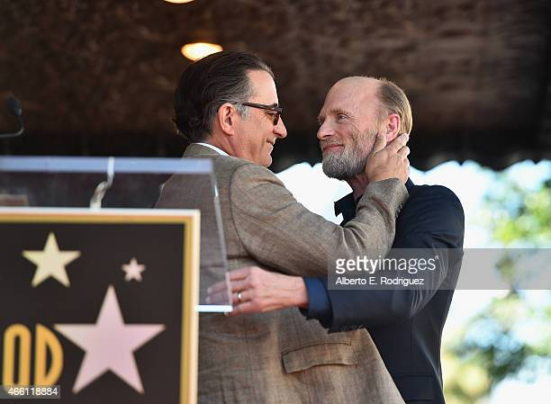 Actors Andy Garcia and Ed Harris attend a ceremony honoring Ed Harris with the 2546th Star on the Hollywood Walk Of Fame on March 13 2015 in...