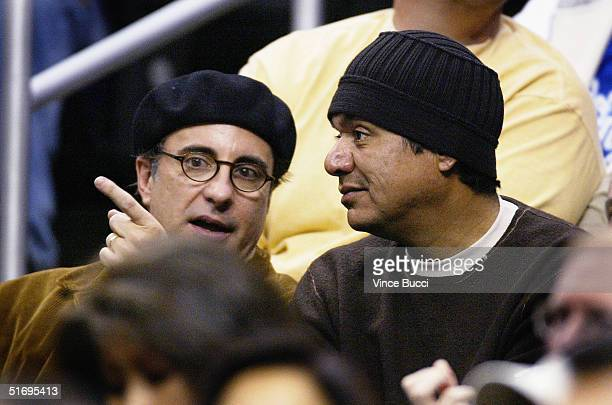 Actors Andy Garcia and George Lopez attend the game between the Los Angeles Lakers and the Atlanta Hawks at the Staples Center on Novemebr 7 2004 in...