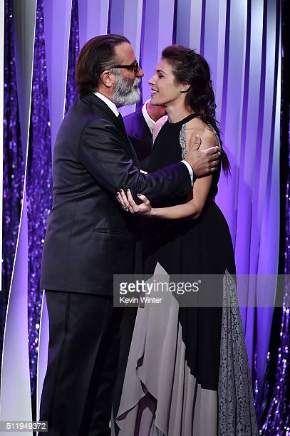 Actors Andy Garcia and Lili Mirojnick speak onstage during the 18th Costume Designers Guild Awards with Presenting Sponsor LACOSTE at The Beverly...