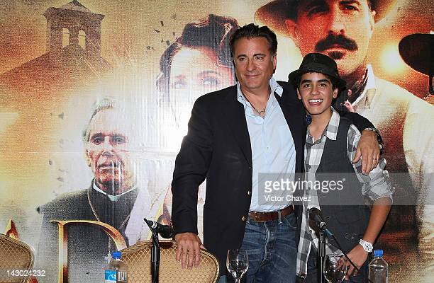 Actors Andy Garcia and Mauricio Kuri attend a photocall and press conference to promote the new film 'For Greater Glory ' at the Four Seasons Hotel...