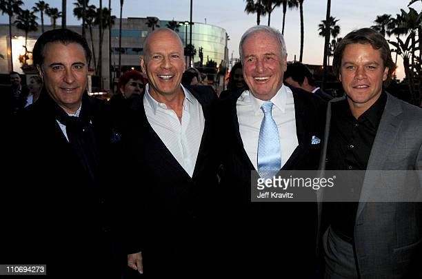 Actors Andy Garcia Bruce Willis Producer Jerry Weintraub and actor Matt Damon arrive at Los Angeles premiere of HBO's His Way at Paramount Studios on...