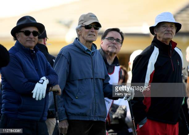 Actors Andy Garcia Clint Eastwood and Bill Murray look off the first tee during the 3M Celebrity Challenge at the ATT Pebble Beach ProAm on February...