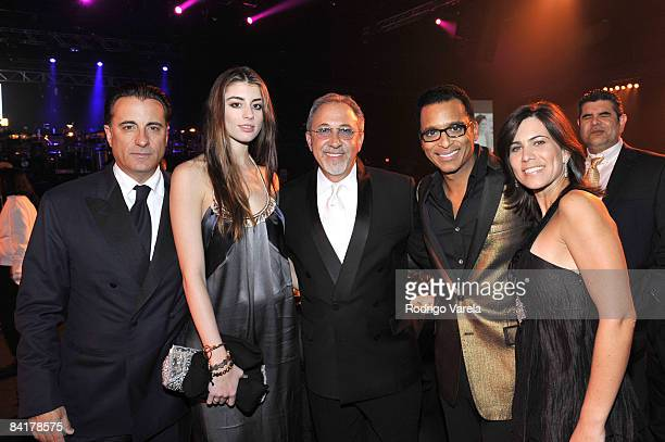 Actors Andy Garcia Dominik GarciaLorid musicians Emilio Estefan Jon Secada and Maritere Vilar attend the 9th Annual Latin GRAMMY Awards Person Of The...