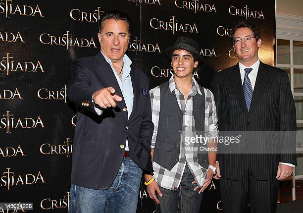 Actors Andy Garcia Mauricio Kuri and producer Pablo Jose Barroso attend a photocall and press conference to promote the new film For Greater Glory at...