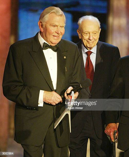 Actors Andy Griffith and Don Knotts speak on stage at the 2nd Annual TV Land Awards held on March 7 2004 at The Hollywood Palladium in Hollywood...