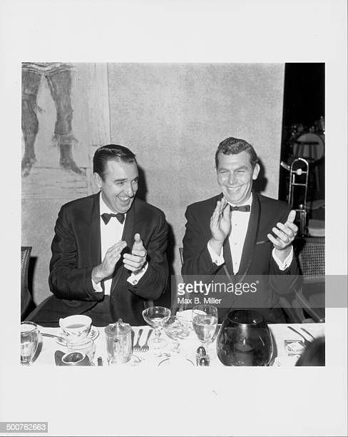 Actors Andy Griffith and Jim Nabors both stars of 'The Andy Griffith Show' attending the President's Ball at the Lakeside Golf Club California 1966
