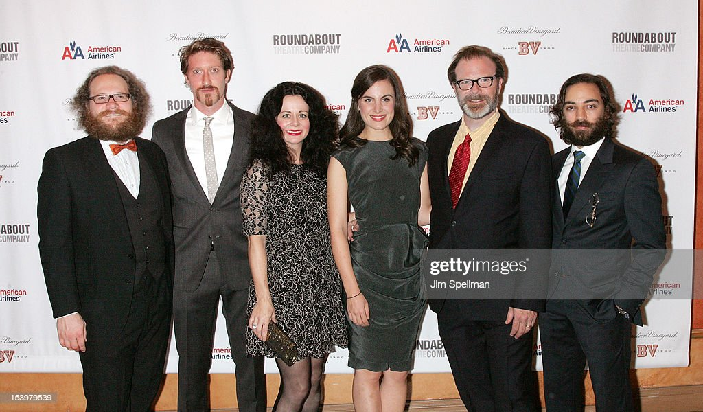 Actors Andy Grotelueschen, Samuel Roukin, Geraldine Hughes, Mikaela Feely- lehmann, Drew McVety and Ben Steinfeld attend 'Cyrano De Bergerac' Broadway Opening Night After Party at American Airlines Theatre on October 11, 2012 in New York City.