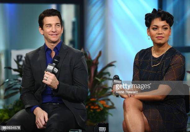 "Actors Andy Karl and Barrett Doss discuss ""Groundhog Day"" at Build Studio on April 7, 2017 in New York City."