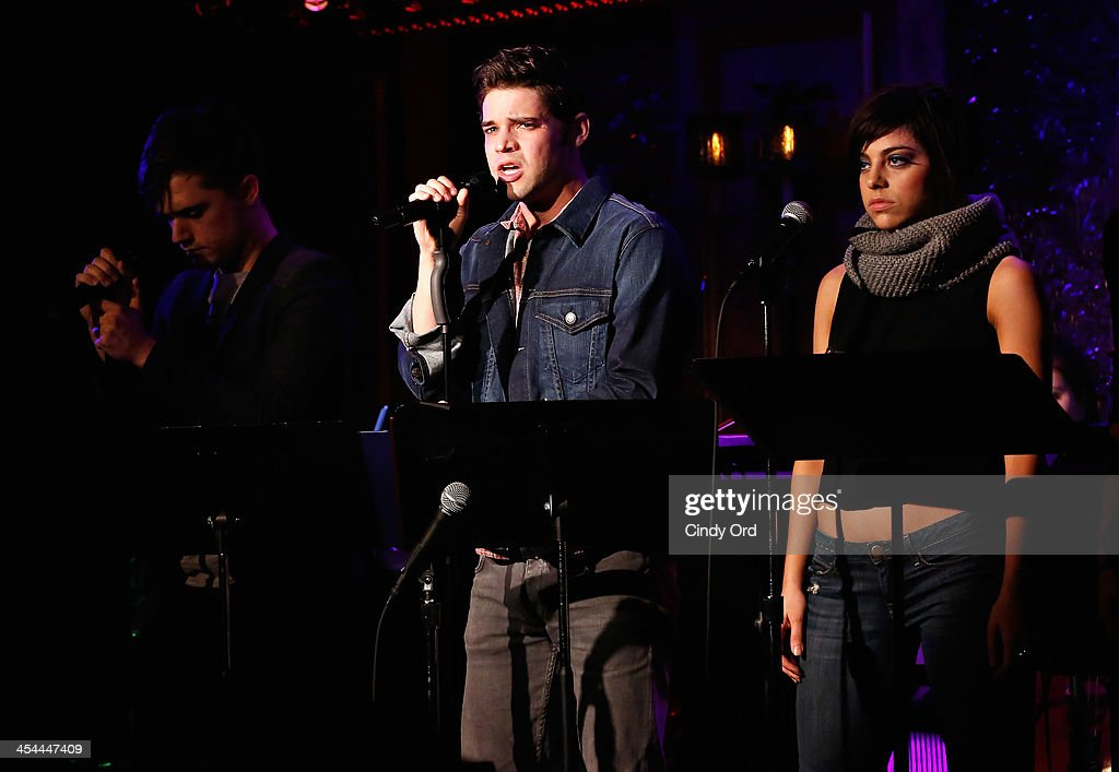 actors andy mientus jeremy jordan and krysta rodriguez perform in hit picture id454447409