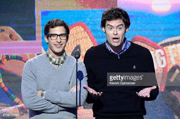 Actors Andy Samberg and Bill Hader speak onstage during the 2014 Film Independent Spirit Awards at Santa Monica Beach on March 1 2014 in Santa Monica...