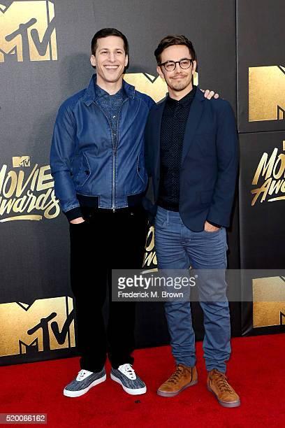 Actors Andy Samberg and Jorma Taccone attend the 2016 MTV Movie Awards at Warner Bros. Studios on April 9, 2016 in Burbank, California. MTV Movie...