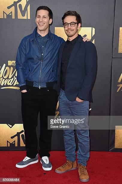 Actors Andy Samberg and Jorma Taccone attend the 2016 MTV Movie Awards at Warner Bros Studios on April 9 2016 in Burbank California MTV Movie Awards...