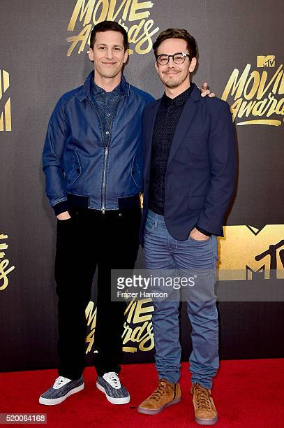 Actors Andy Samberg and Jorma Taccone of The Lonely Island attend the 2016 MTV Movie Awards at Warner Bros. Studios on April 9, 2016 in Burbank,...