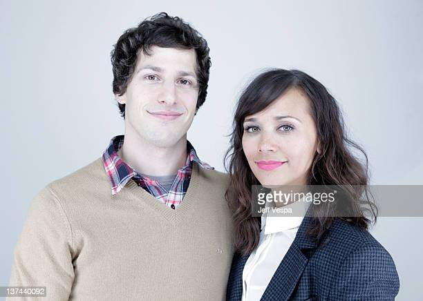 Actors Andy Samberg and Rashida Jones pose for a portrait during the 2012 Sundance Film Festival at the WireImage Portrait Studio at TMobile Village...