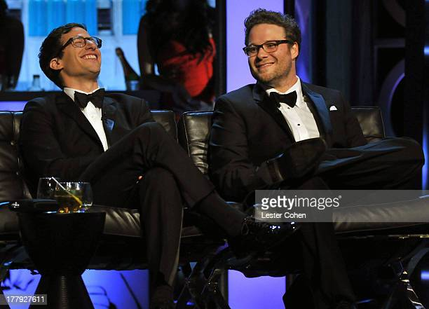 Actors Andy Samberg and Seth Rogen onstage during The Comedy Central Roast Of James Franco at Culver Studios on August 25 2013 in Culver City...