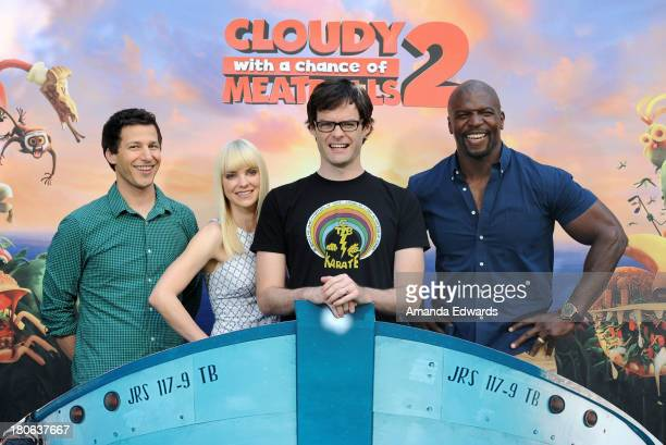 Actors Andy Samberg Anna Faris Bill Hader and Terry Crews attend the Cloudy With A Chance Of Meatballs 2 Los Angeles Photo Call at the Four Seasons...