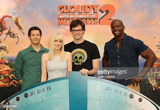 Actors Andy Samberg Anna Faris Bill Hader and Terry Crews attend the Cloudy With A Chance Of Meatballs 2 Photo Call at Four Seasons Hotel Los Angeles...