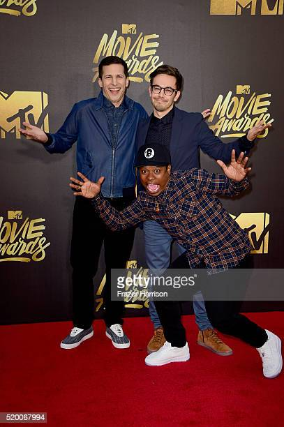 Actors Andy Samberg, Jason Mitchell and Jorma Taccone attend the 2016 MTV Movie Awards at Warner Bros. Studios on April 9, 2016 in Burbank,...
