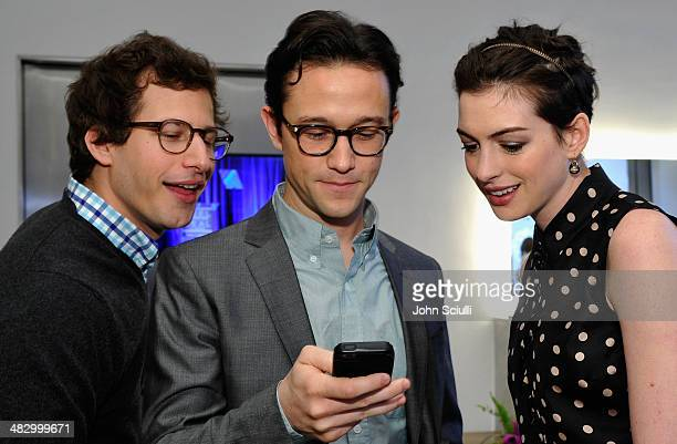 Actors Andy Samberg Joseph GordonLevitt and Anne Hathaway attend the 3rd Annual Reel Stories Real Lives Benefiting The Motion Picture Television Fund...