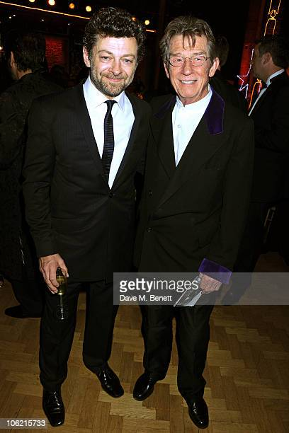Actors Andy Serkis and John Hurt attend the BFI London Film Festival Awards at LSO St Luke's on October 27 2010 in London England