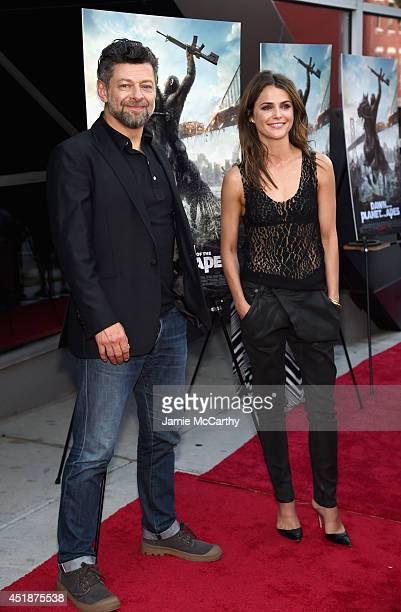 Actors Andy Serkis and Keri Russell attend the Dawn Of The Planets Of The Apes premiere at Williamsburg Cinemas on July 8 2014 in New York City