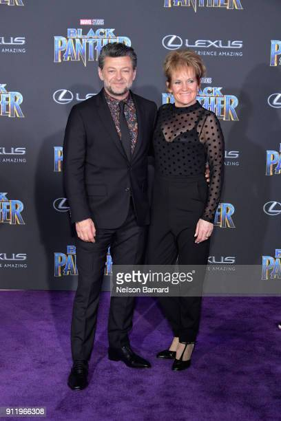 Actors Andy Serkis and Lorraine Ashbourne attends the premiere of Disney and Marvel's 'Black Panther' at Dolby Theatre on January 29 2018 in...