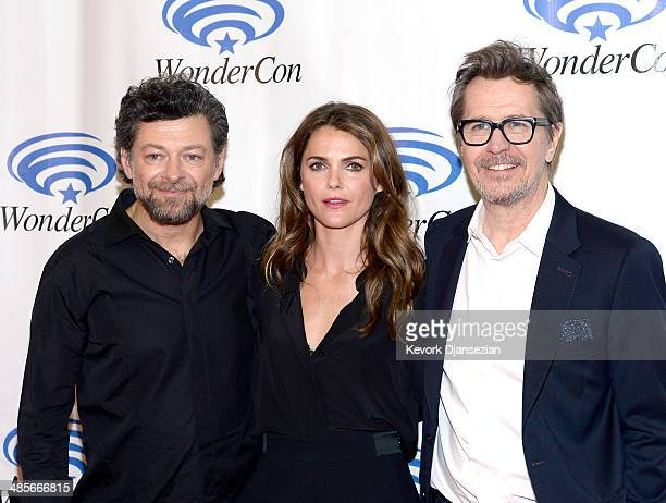 Actors Andy Serkis Keri Russell and Gary Oldman attend the Dawn of the Planet of the Apes press line at WonderCon Anaheim 2014 at the Anaheim...