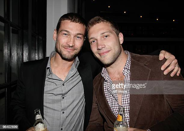 Actors Andy Whitfield and Jai Courtney attend the 'Have a Heart for Haiti' event held at Palihouse Holloway on February 3 2010 in West Hollywood...