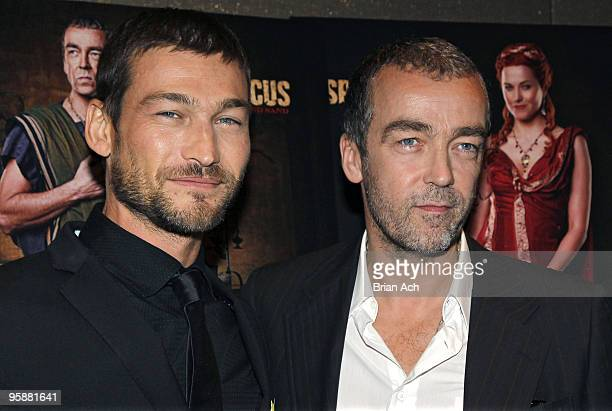 Actors Andy Whitfield and John Hannah attend the 'Spartacus Blood and Sand' New York premiere at the Tribeca Grand Screening Room on January 19 2010...