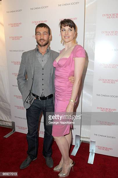 Actors Andy Whitfield and Lucy Lawless attend the Cinema Society and John Aileen Crowley screening of ''Extraordinary Measures''>> at the School of...