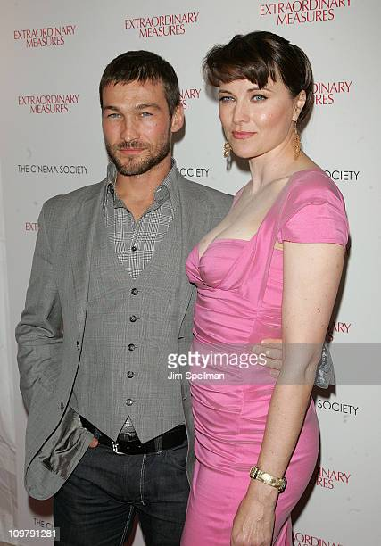 Actors Andy Whitfield and Lucy Lawless attend the Cinema Society with John Aileen Crowley screening of 'Extraordinary Measures' at the School of...