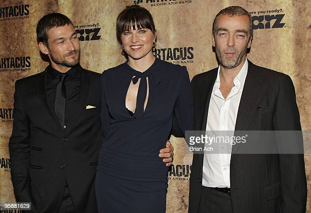 Actors Andy Whitfield Lucy Lawless and John Hannah attend the Spartacus Blood and Sand New York premiere at the Tribeca Grand Screening Room on...