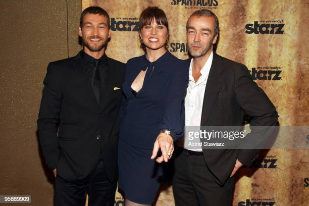 Actors Andy Whitfield Lucy Lawless and John Hannah attend the premiere of Spartacus Blood and Sand at the Tribeca Grand Screening Room on January 19...