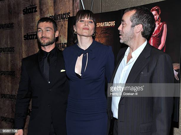 """Actors Andy Whitfield, Lucy Lawless and John Hannah attends the premiere of """"Spartacus: Blood and Sand"""" at the Tribeca Grand Screening Room on..."""